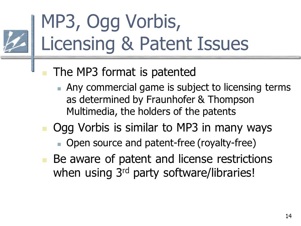 MP3, Ogg Vorbis, Licensing & Patent Issues
