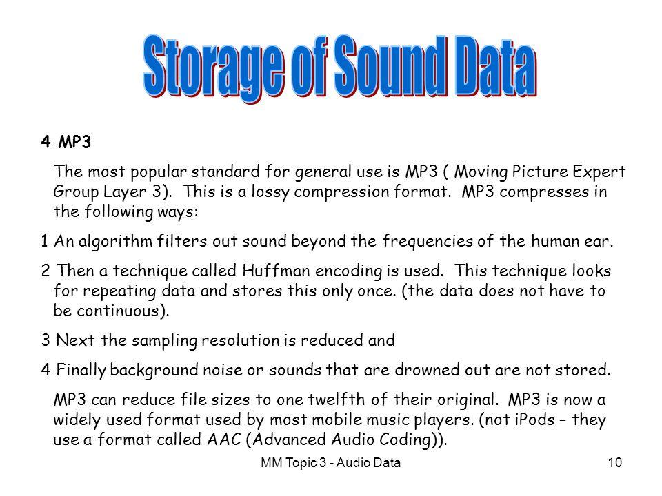 Storage of Sound Data 4 MP3