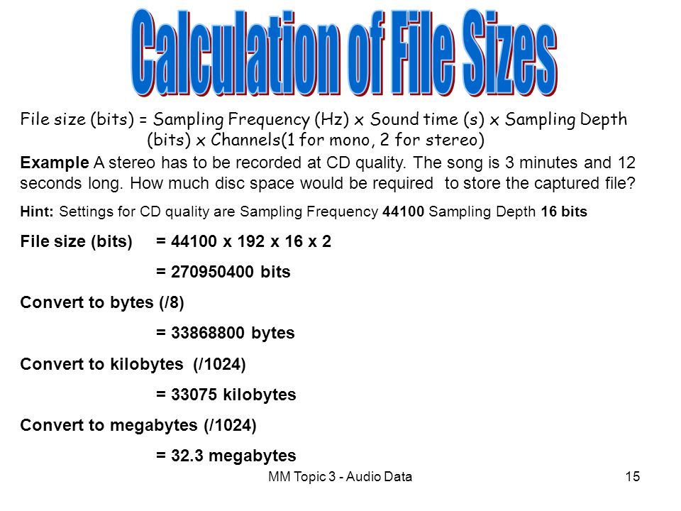 Calculation of File Sizes