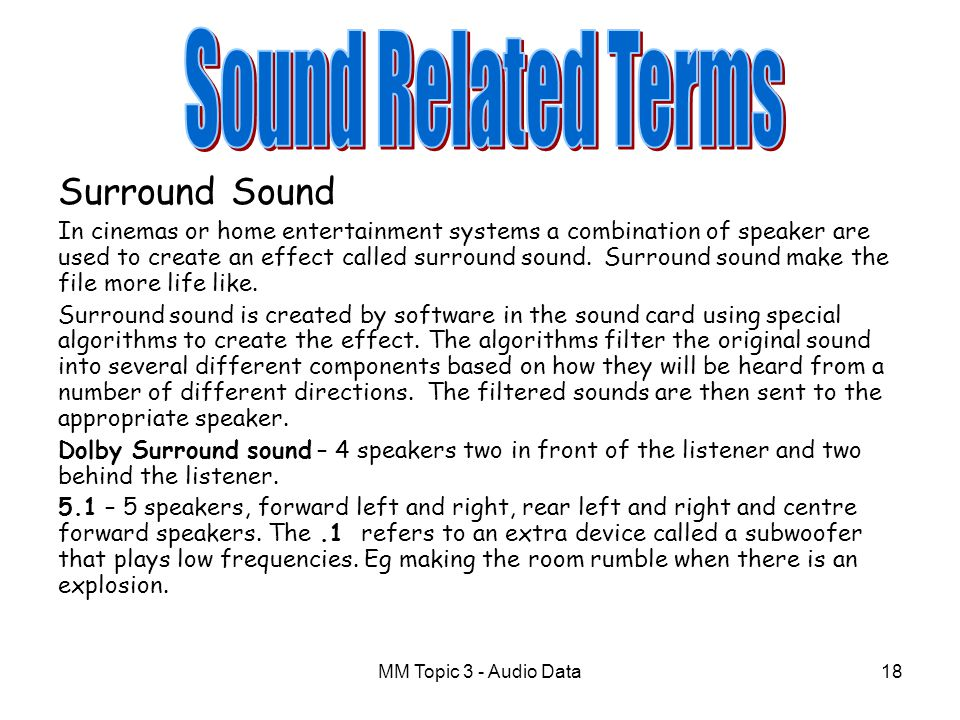 Sound Related Terms Surround Sound