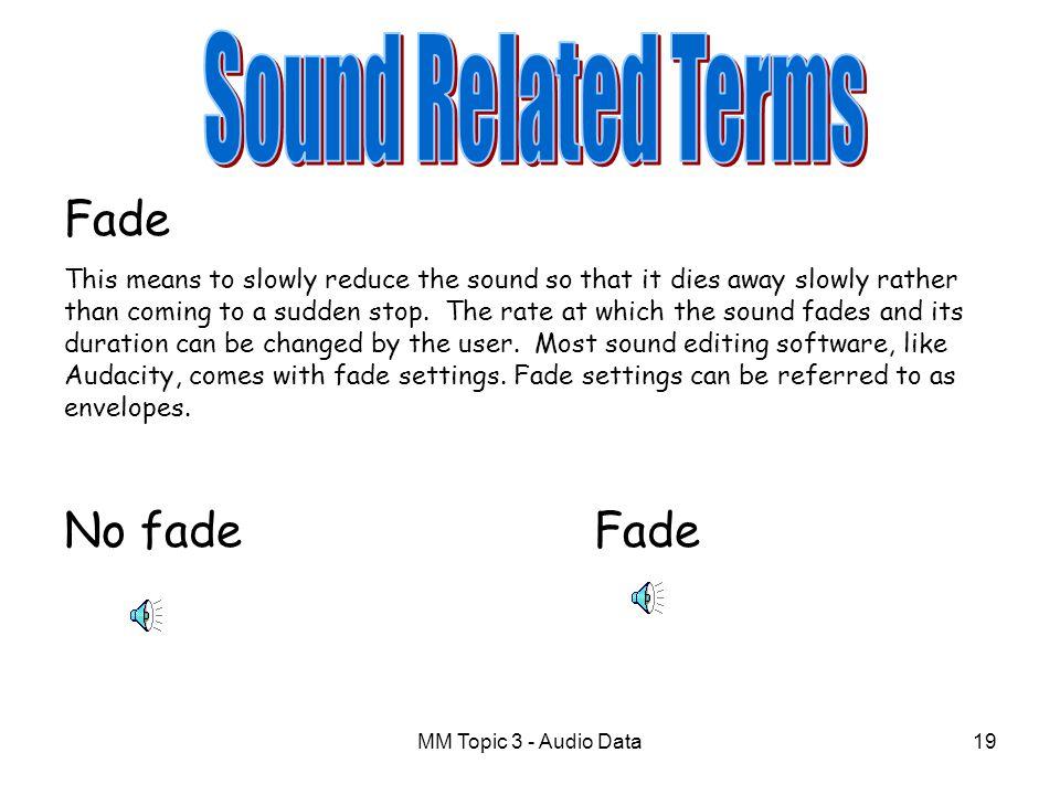 Sound Related Terms Fade No fade Fade