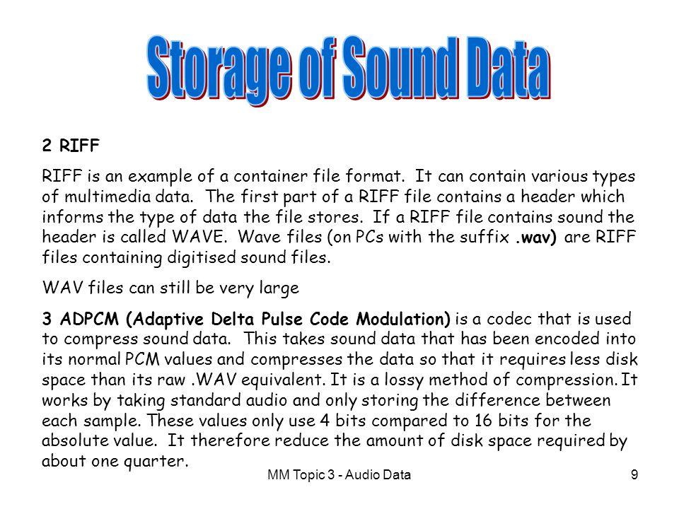 Storage of Sound Data 2 RIFF