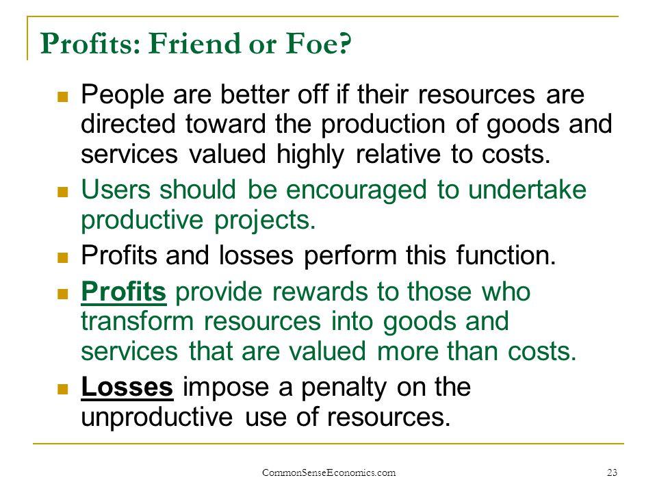Profits: Friend or Foe