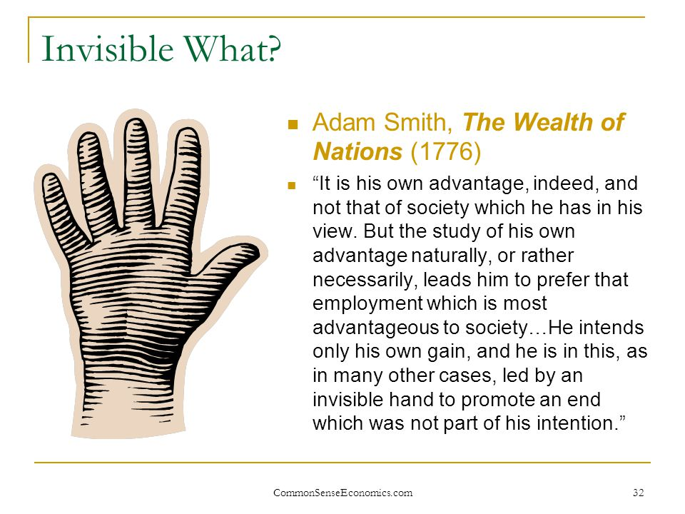 Invisible What Adam Smith, The Wealth of Nations (1776)