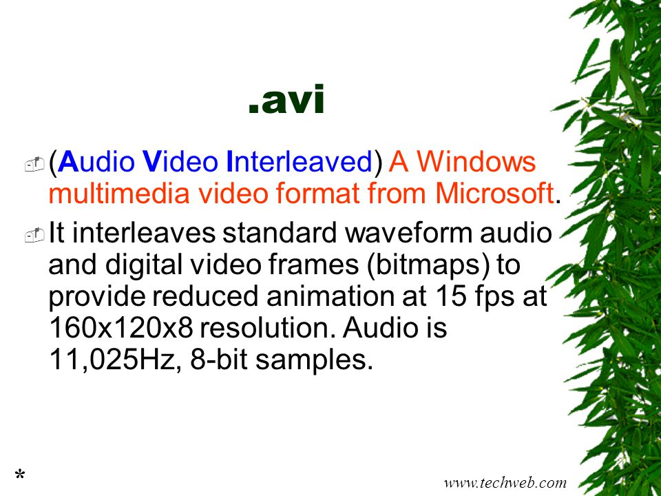.avi (Audio Video Interleaved) A Windows multimedia video format from Microsoft.
