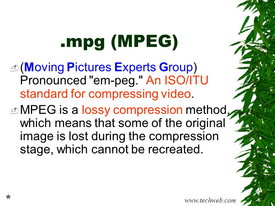 .mpg (MPEG) (Moving Pictures Experts Group) Pronounced em-peg. An ISO/ITU standard for compressing video.