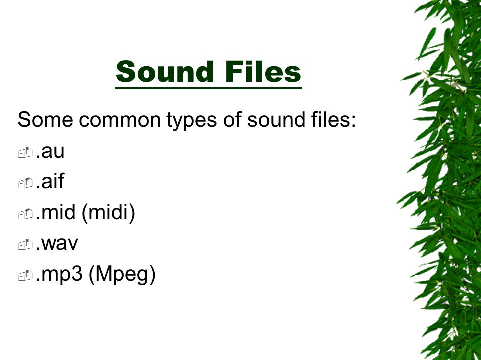 Sound Files Some common types of sound files: .au .aif .mid (midi)