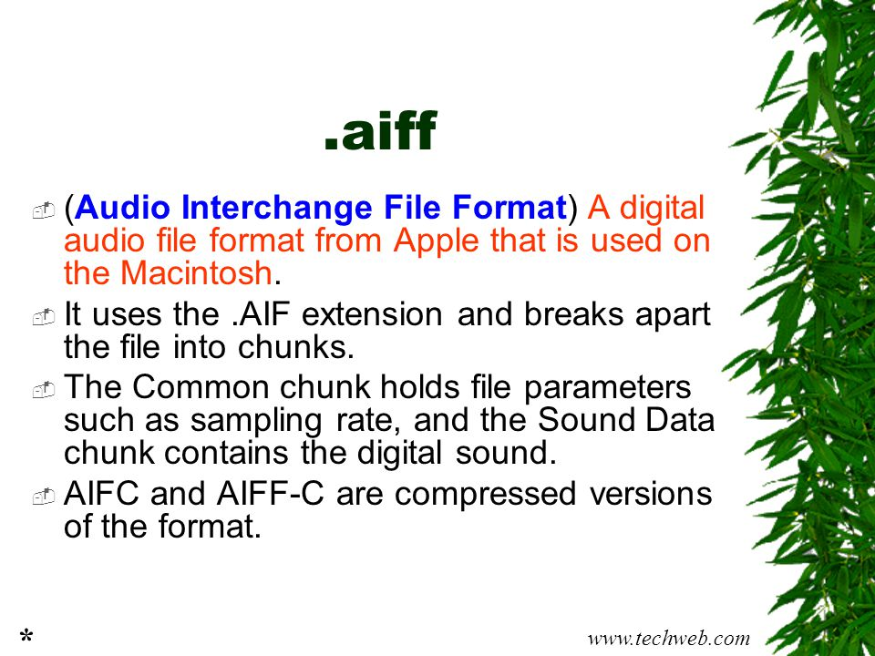 .aiff (Audio Interchange File Format) A digital audio file format from Apple that is used on the Macintosh.