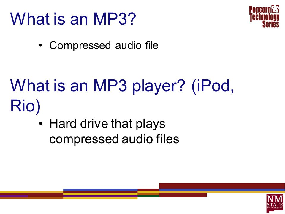 What is an MP3 player (iPod, Rio)