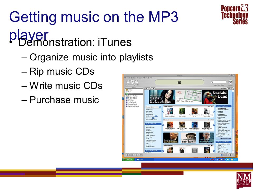 Getting music on the MP3 player