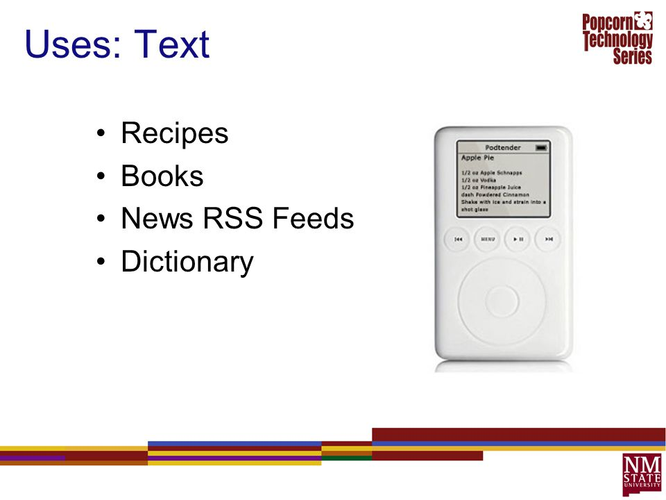 Uses: Text Recipes Books News RSS Feeds Dictionary