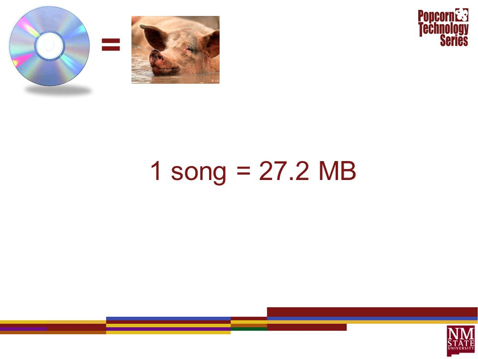 = 1 song = 27.2 MB