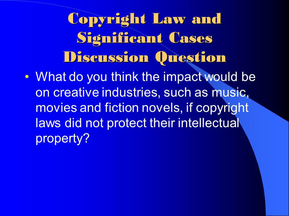 Copyright Law and Significant Cases Discussion Question