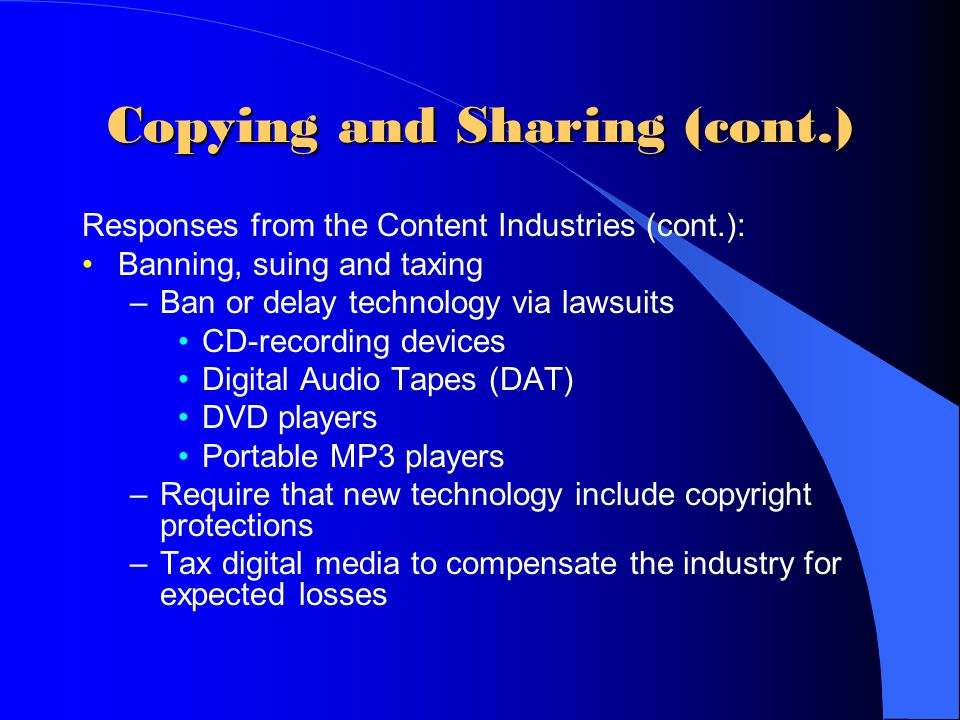 Copying and Sharing (cont.)