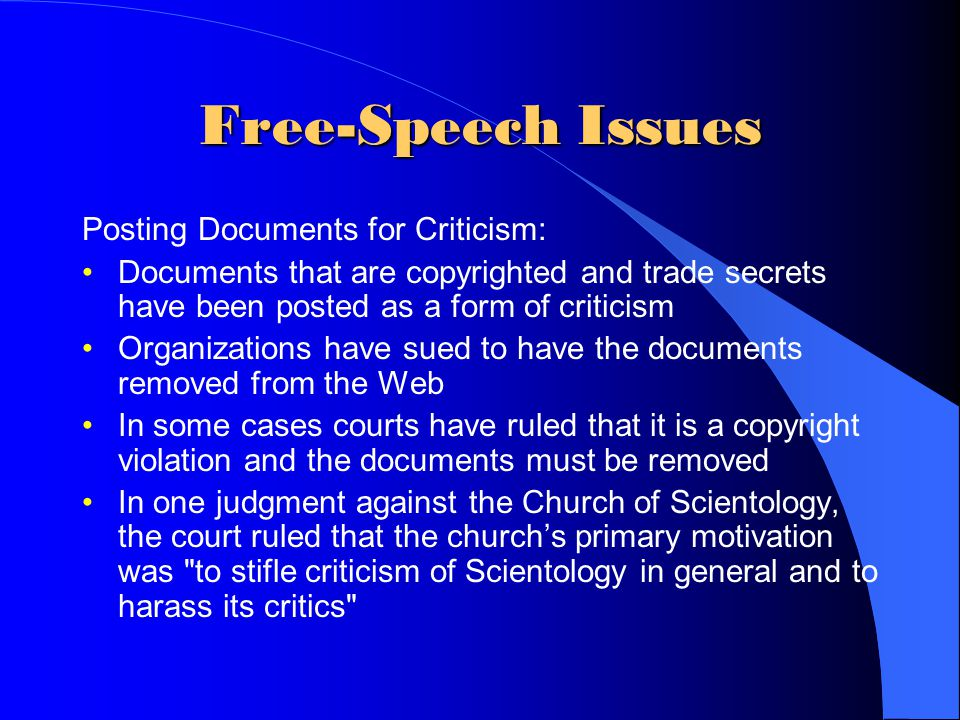 Free-Speech Issues Posting Documents for Criticism: