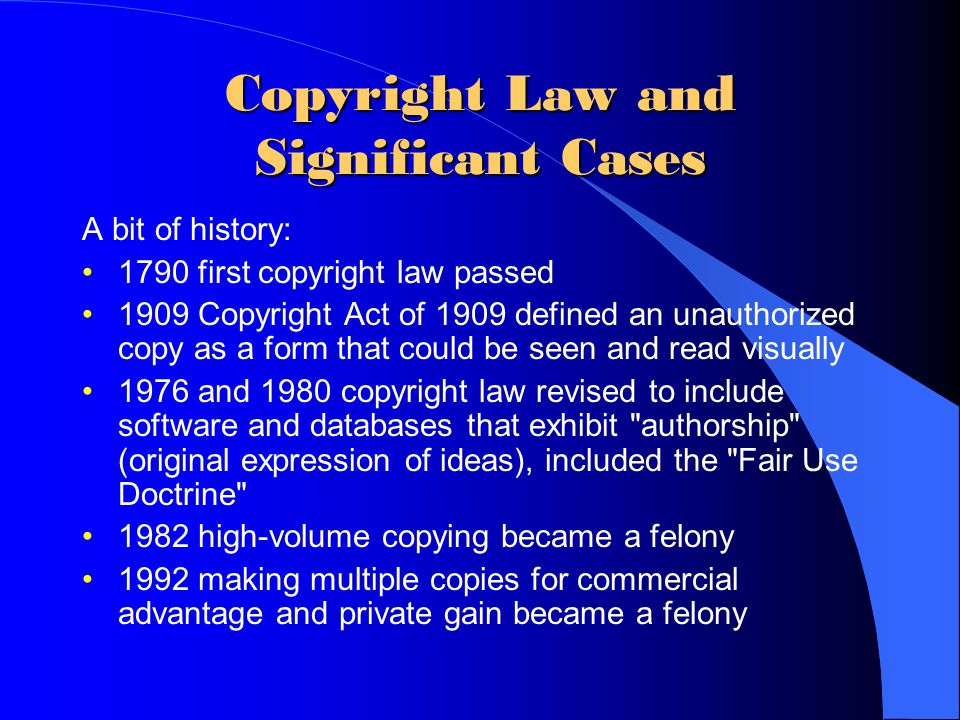 Copyright Law and Significant Cases
