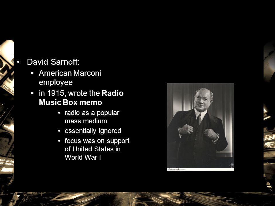 David Sarnoff: American Marconi employee