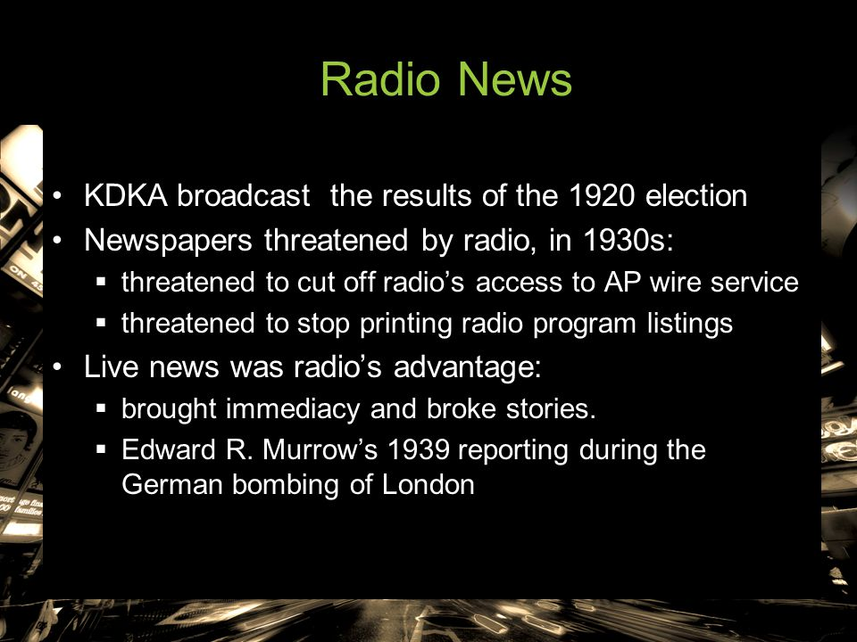 Radio News KDKA broadcast the results of the 1920 election