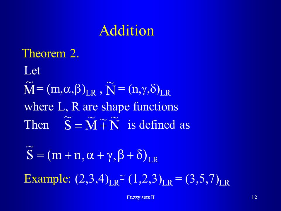 Addition Theorem 2. Let = (m,,)LR , = (n,,)LR