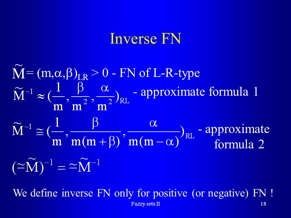Inverse FN = (m,,)LR > 0 - FN of L-R-type - approximate formula 1