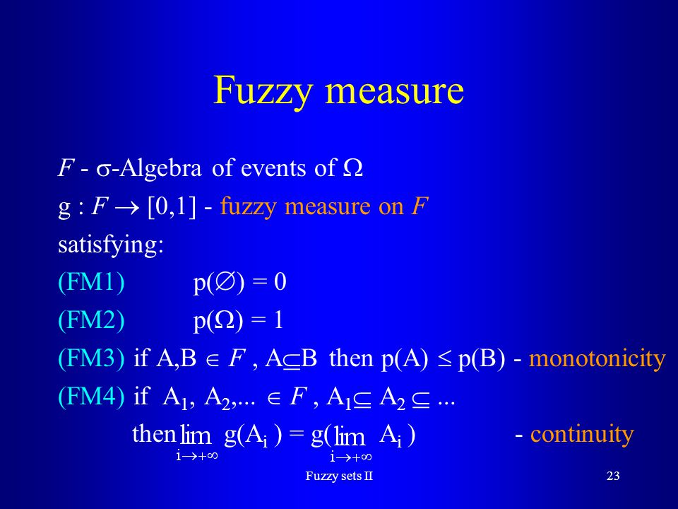 Fuzzy measure F - -Algebra of events of 
