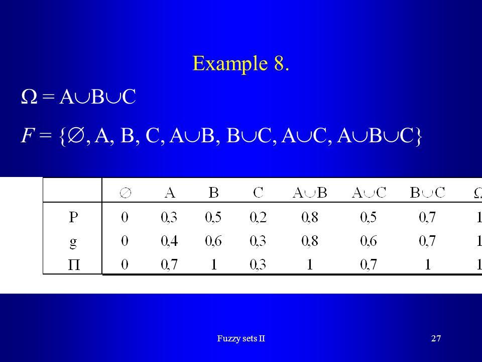 F = {, A, B, C, AB, BC, AC, ABC}