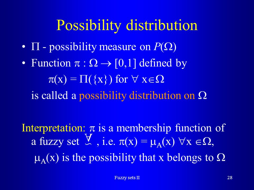 Possibility distribution