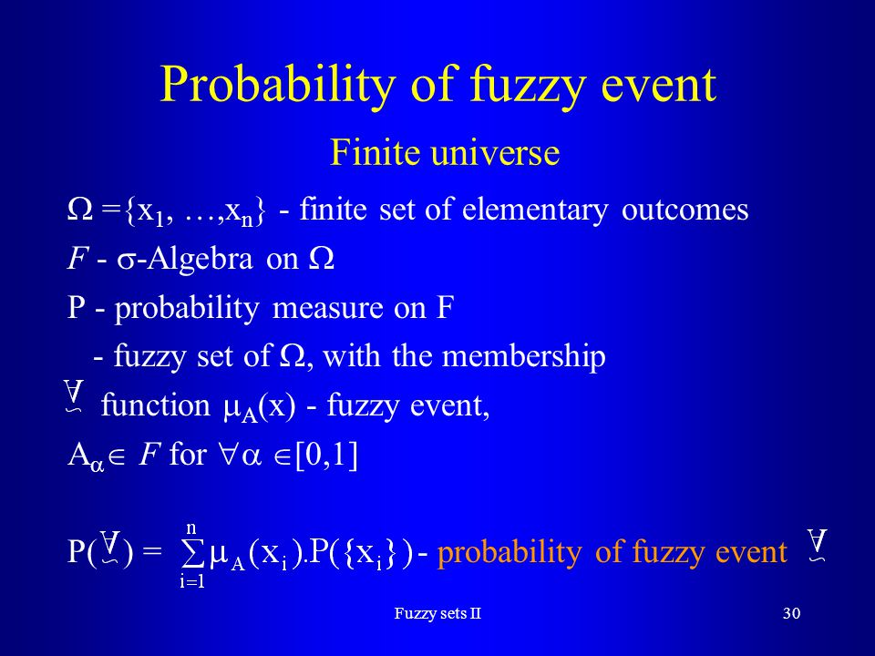Probability of fuzzy event Finite universe