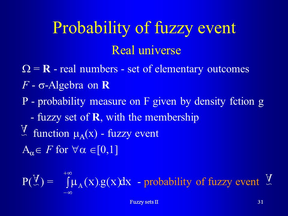 Probability of fuzzy event Real universe
