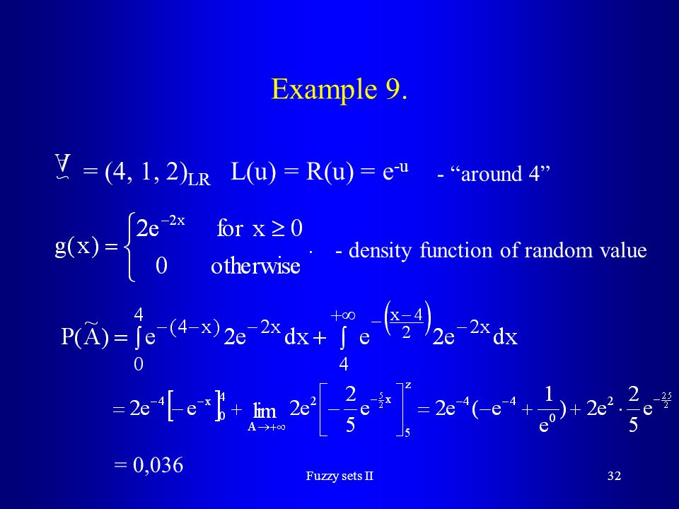 Example 9. = (4, 1, 2)LR L(u) = R(u) = e-u - around 4