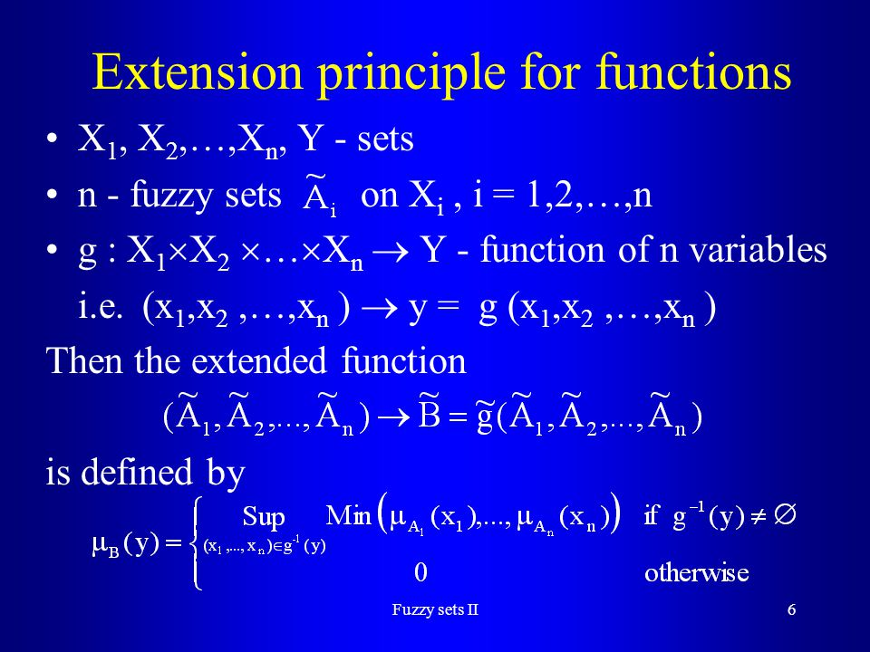 Extension principle for functions