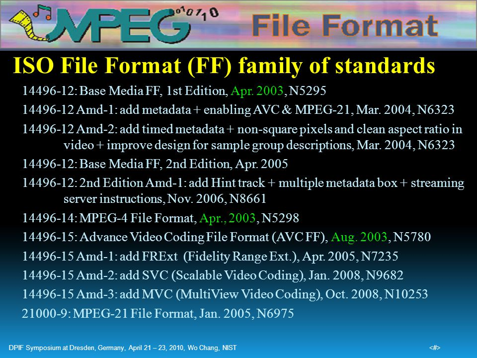 ISO File Format (FF) family of standards