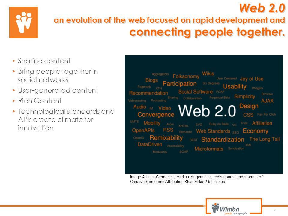 Web 2.0 an evolution of the web focused on rapid development and connecting people together.