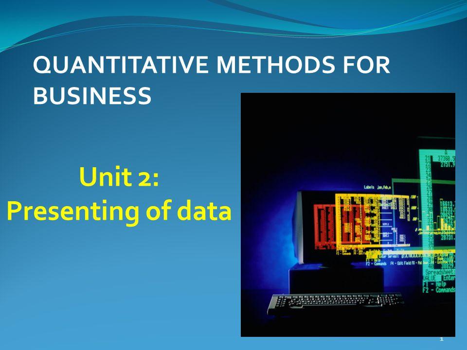 Unit 2: Presenting of data