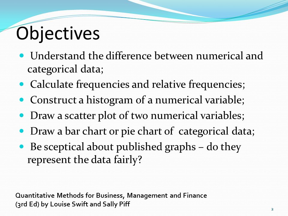 Objectives Understand the difference between numerical and categorical data; Calculate frequencies and relative frequencies;