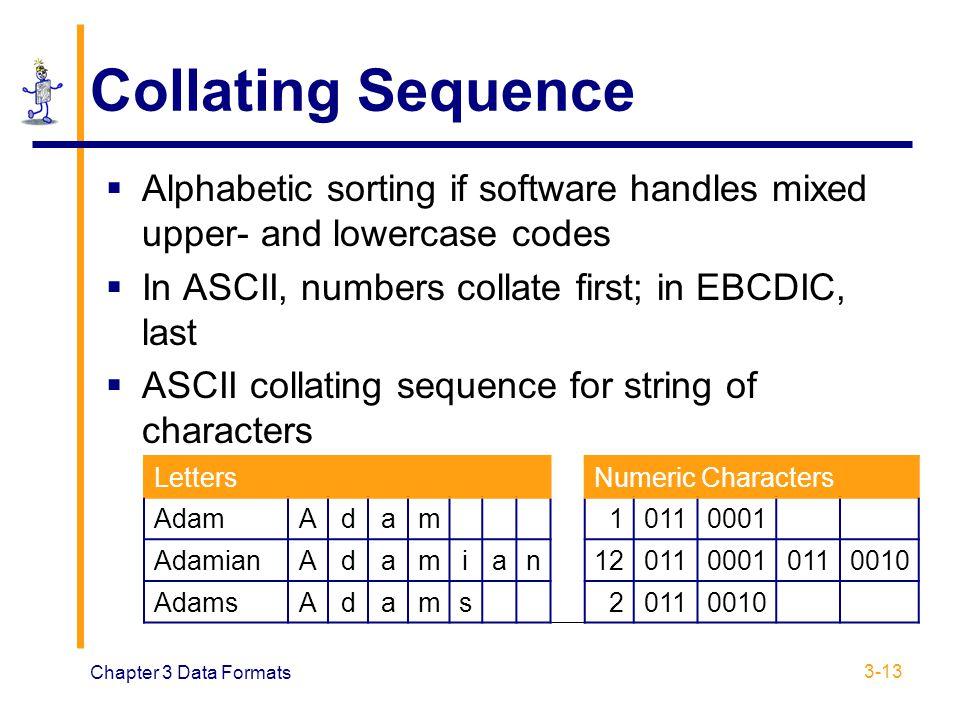 Collating Sequence Alphabetic sorting if software handles mixed upper- and lowercase codes. In ASCII, numbers collate first; in EBCDIC, last.