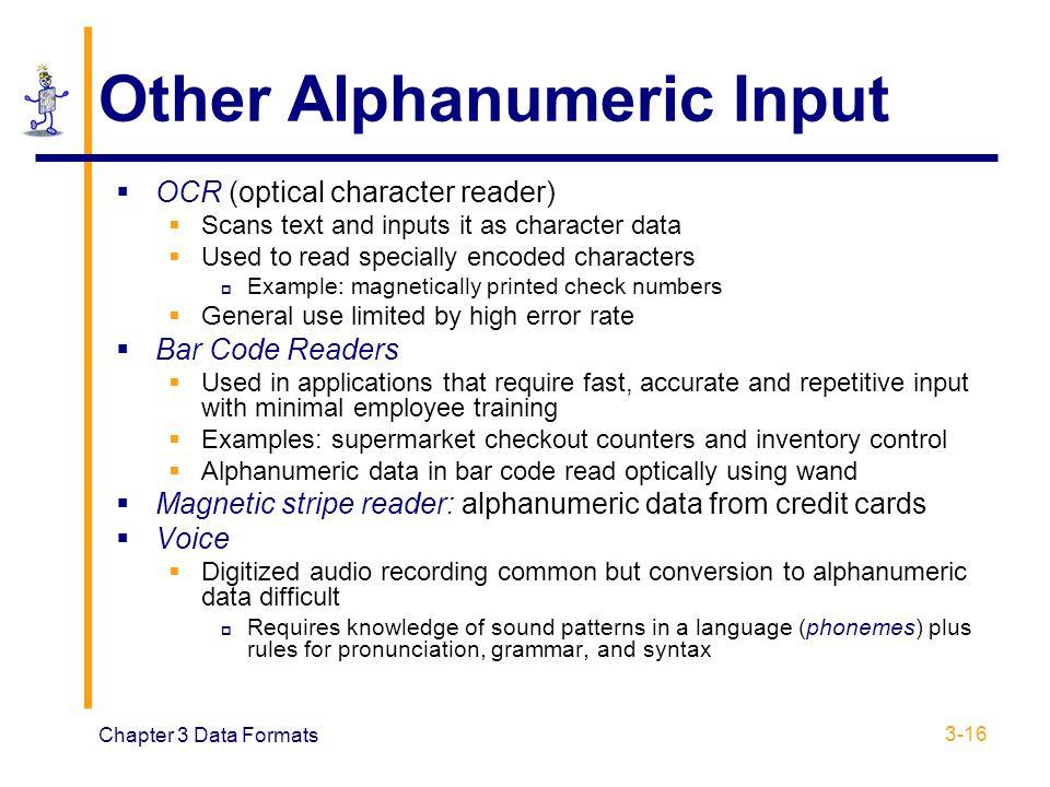 Other Alphanumeric Input
