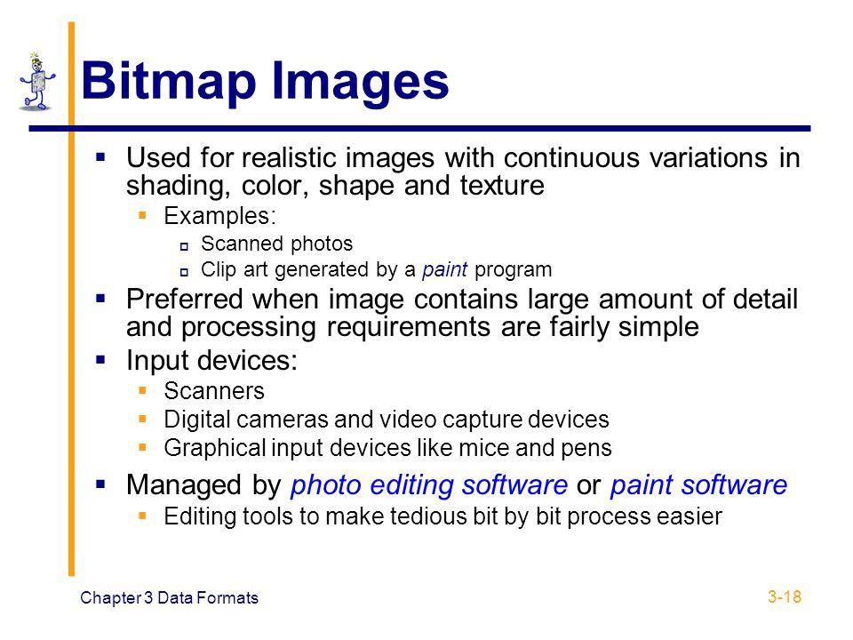 Bitmap Images Used for realistic images with continuous variations in shading, color, shape and texture.