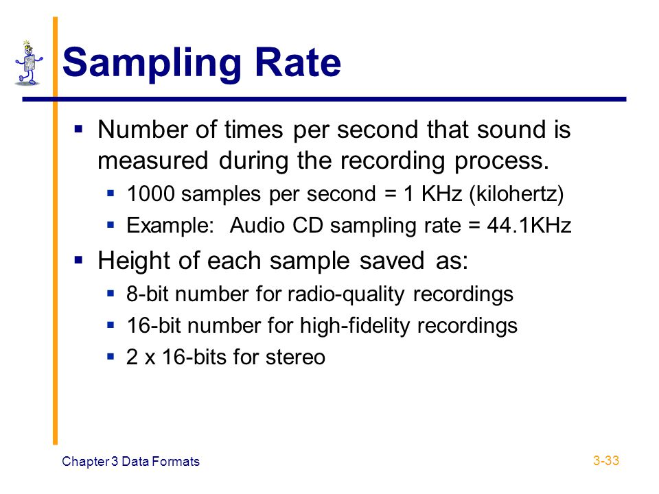 Sampling Rate Number of times per second that sound is measured during the recording process samples per second = 1 KHz (kilohertz)