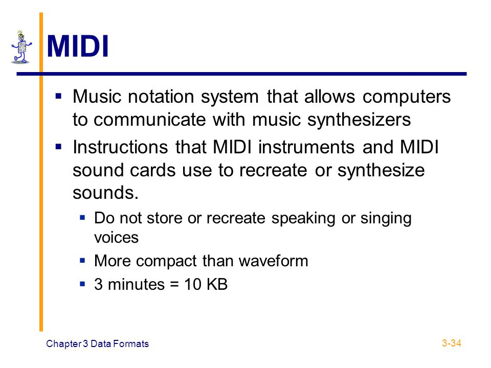 MIDI Music notation system that allows computers to communicate with music synthesizers.