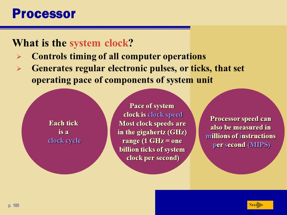 Each tick is a clock cycle Pace of system clock is clock speed