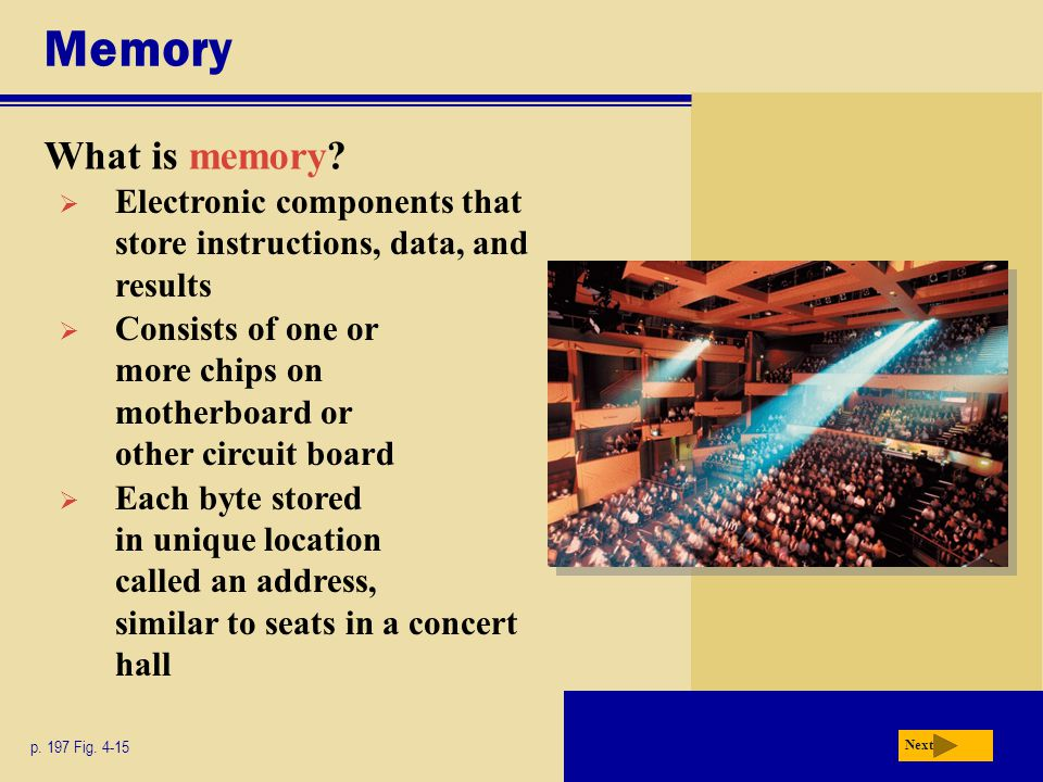 Memory What is memory Electronic components that store instructions, data, and results.