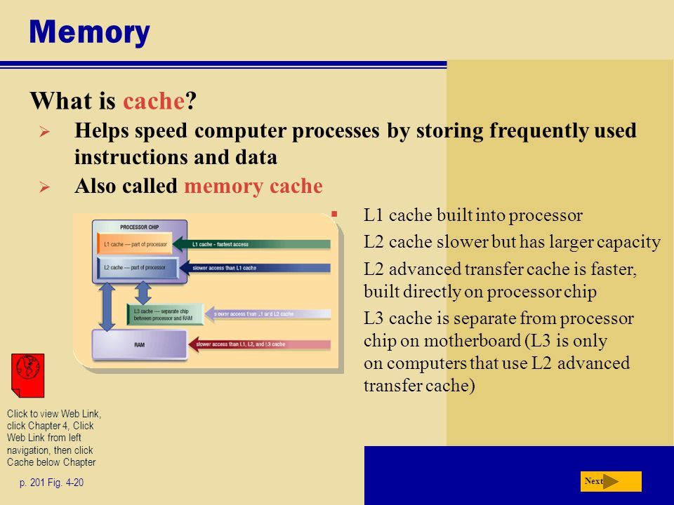 Memory What is cache Helps speed computer processes by storing frequently used instructions and data.