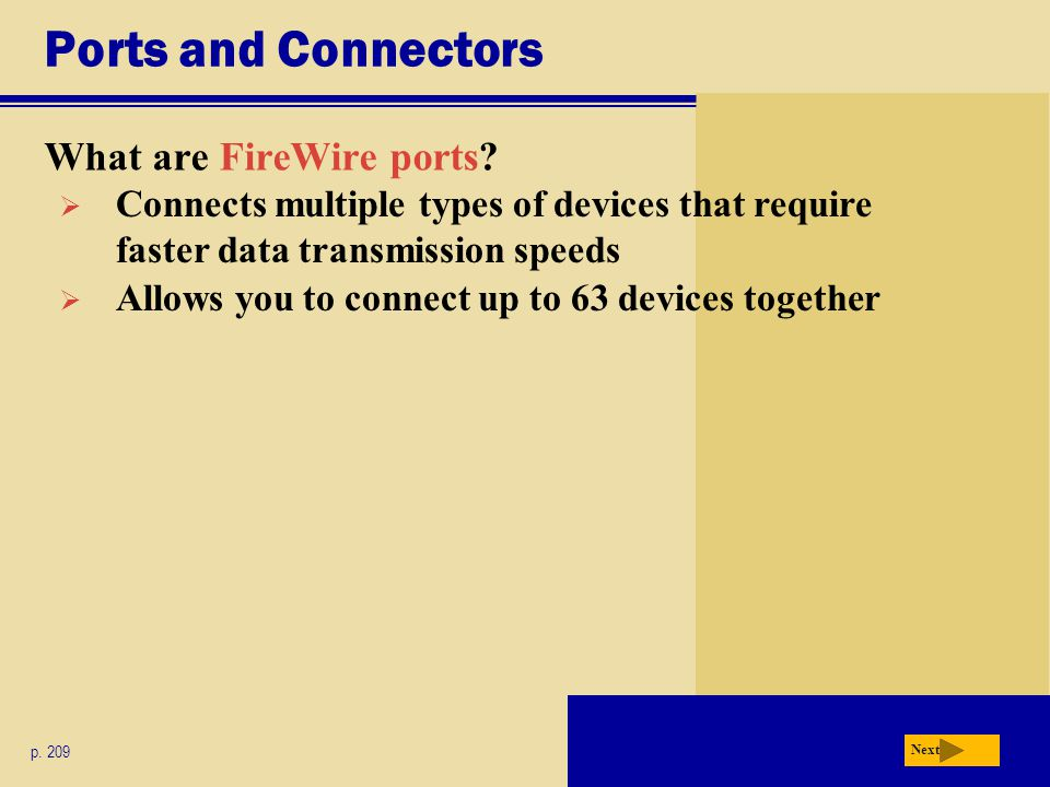 Ports and Connectors What are FireWire ports