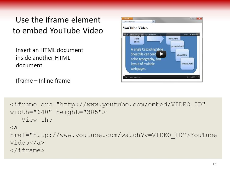 Use the iframe element to embed YouTube Video