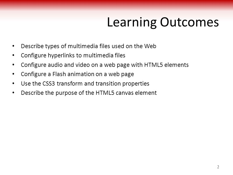 Learning Outcomes Describe types of multimedia files used on the Web