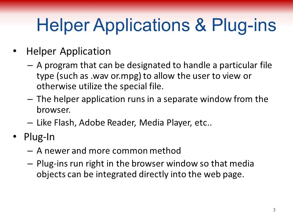 Helper Applications & Plug-ins