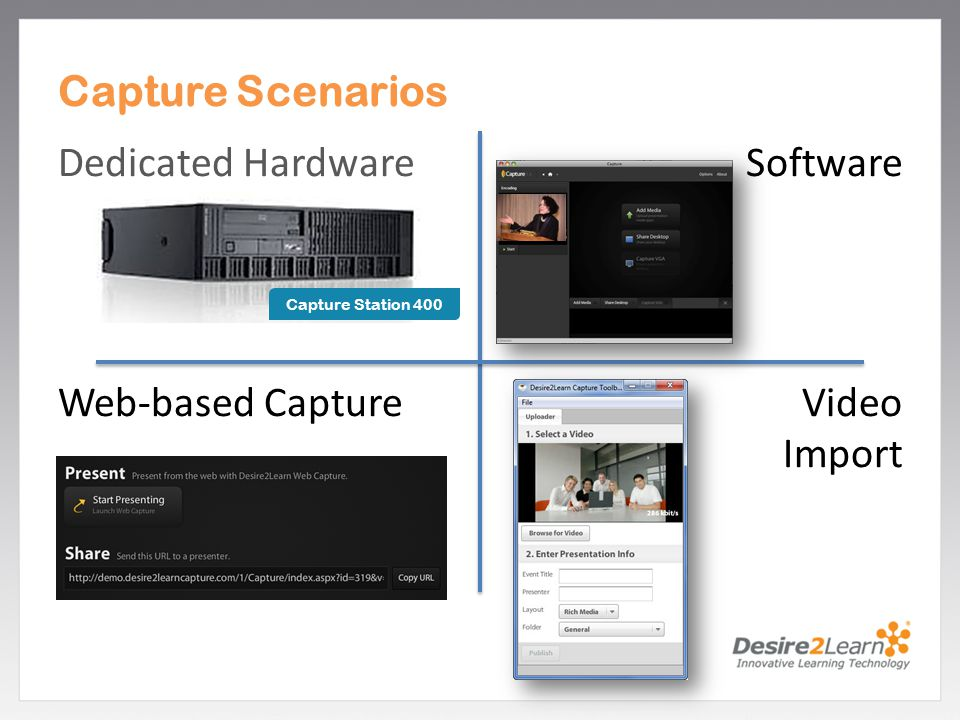 Capture Scenarios Dedicated Hardware Software Web-based Capture