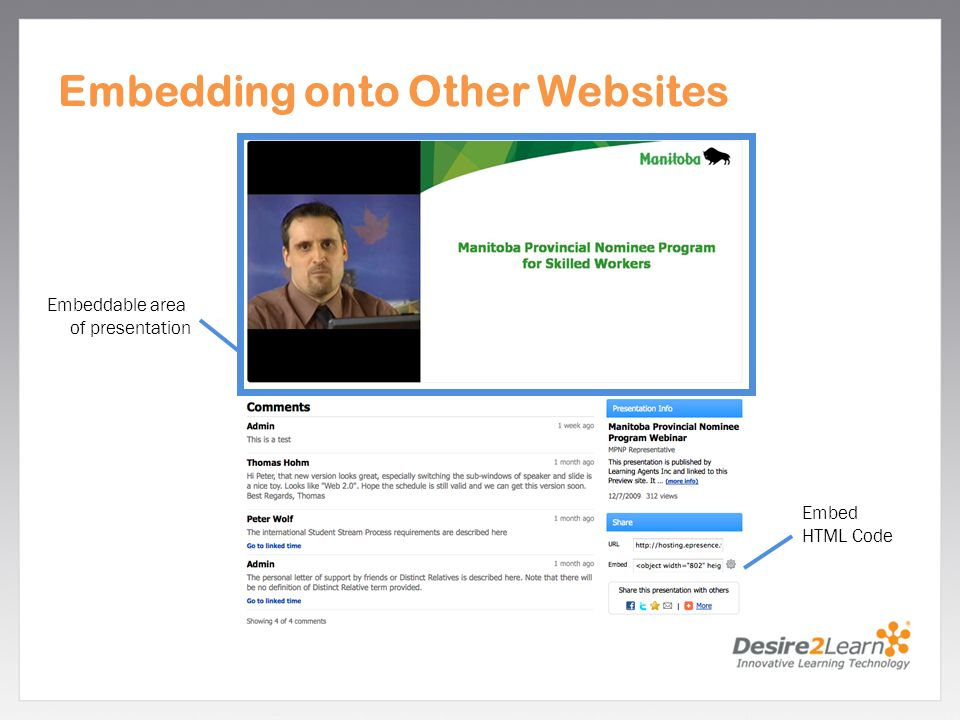 Embedding onto Other Websites