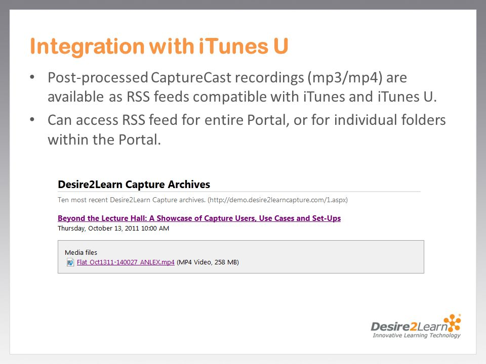 Integration with iTunes U